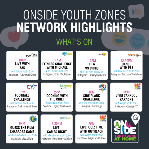 network highlights calendar OnSide Youth Zones