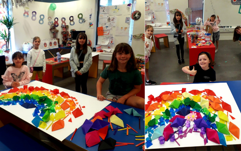 Junior members at Wigan Youth Zone painted rainbow flags in support of Pride,